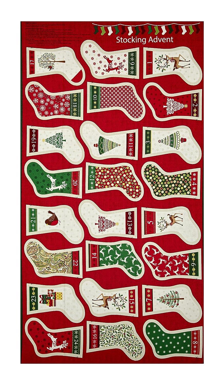 56225255e Amazon.com  Andover Traditional Metallic Christmas Stockings 23.5in Panel  Bright Fabric  Home   Kitchen