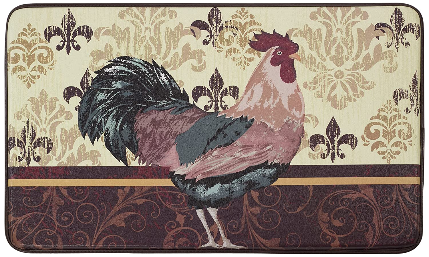 Chef Gear Imperial Rooster Faux Leather Anti-Fatigue Cushioned Chef Mat, 18 by 30-Inch Creative Home Ideas YMK001875