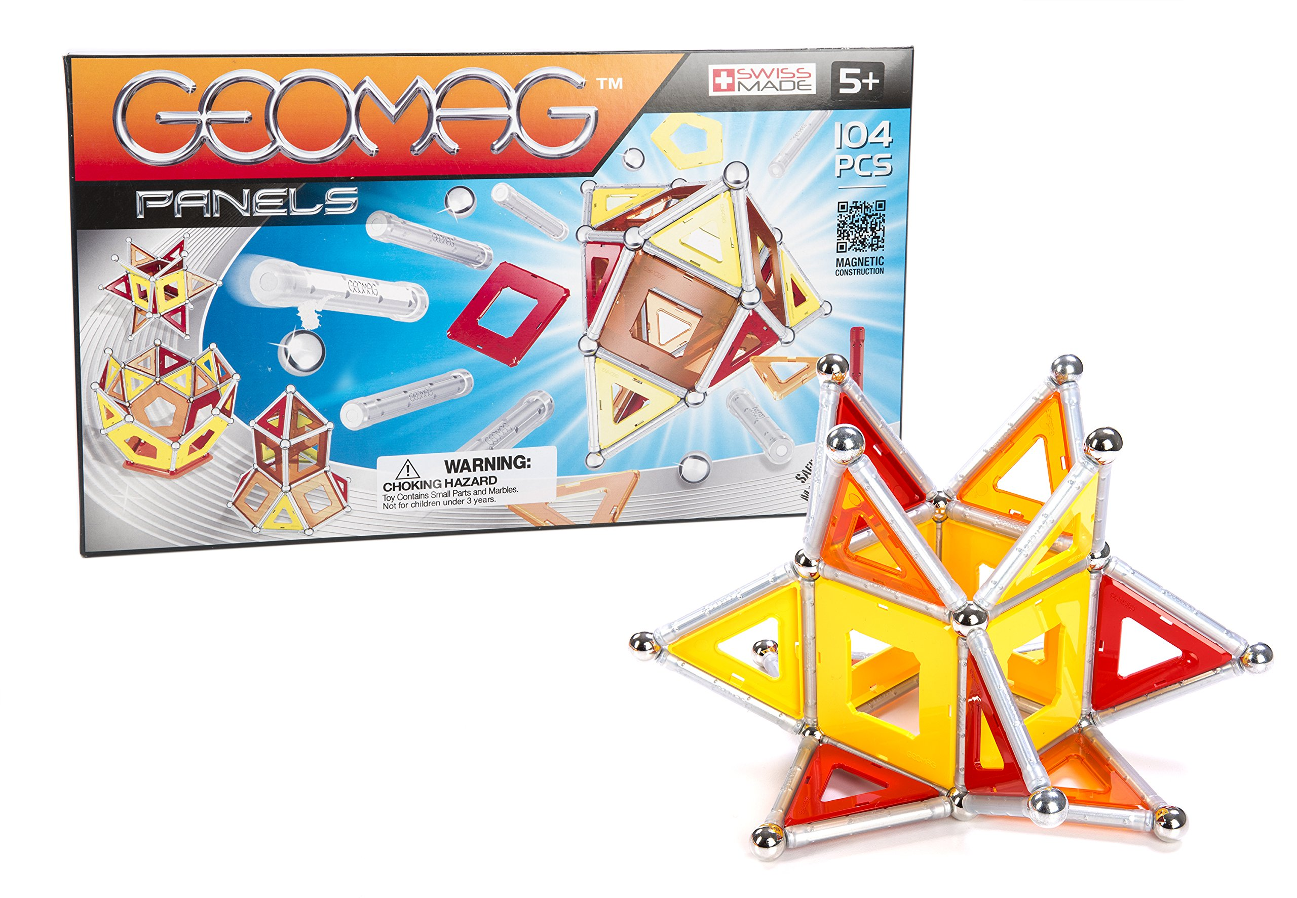 Geomag 104-Piece Construction Set with Assorted Panels - Mentally Stimulating for Children and Adults - Safe and Construction - For Ages 3 and Up