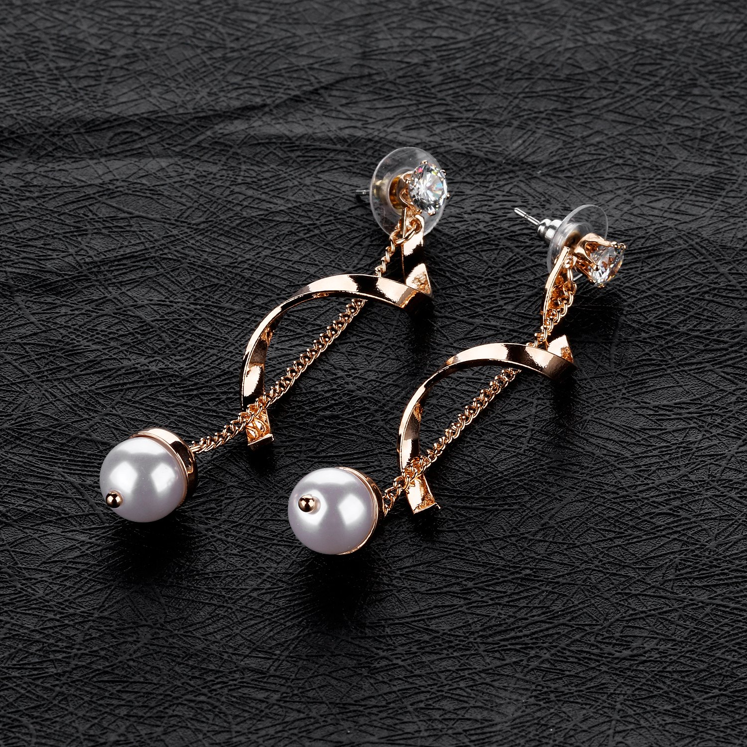 LOHOME Fashion Earrings Silver//Rose Gold Tone Spiral Wound Pearls Diamonds Charm Studs Earring for Womens Girls