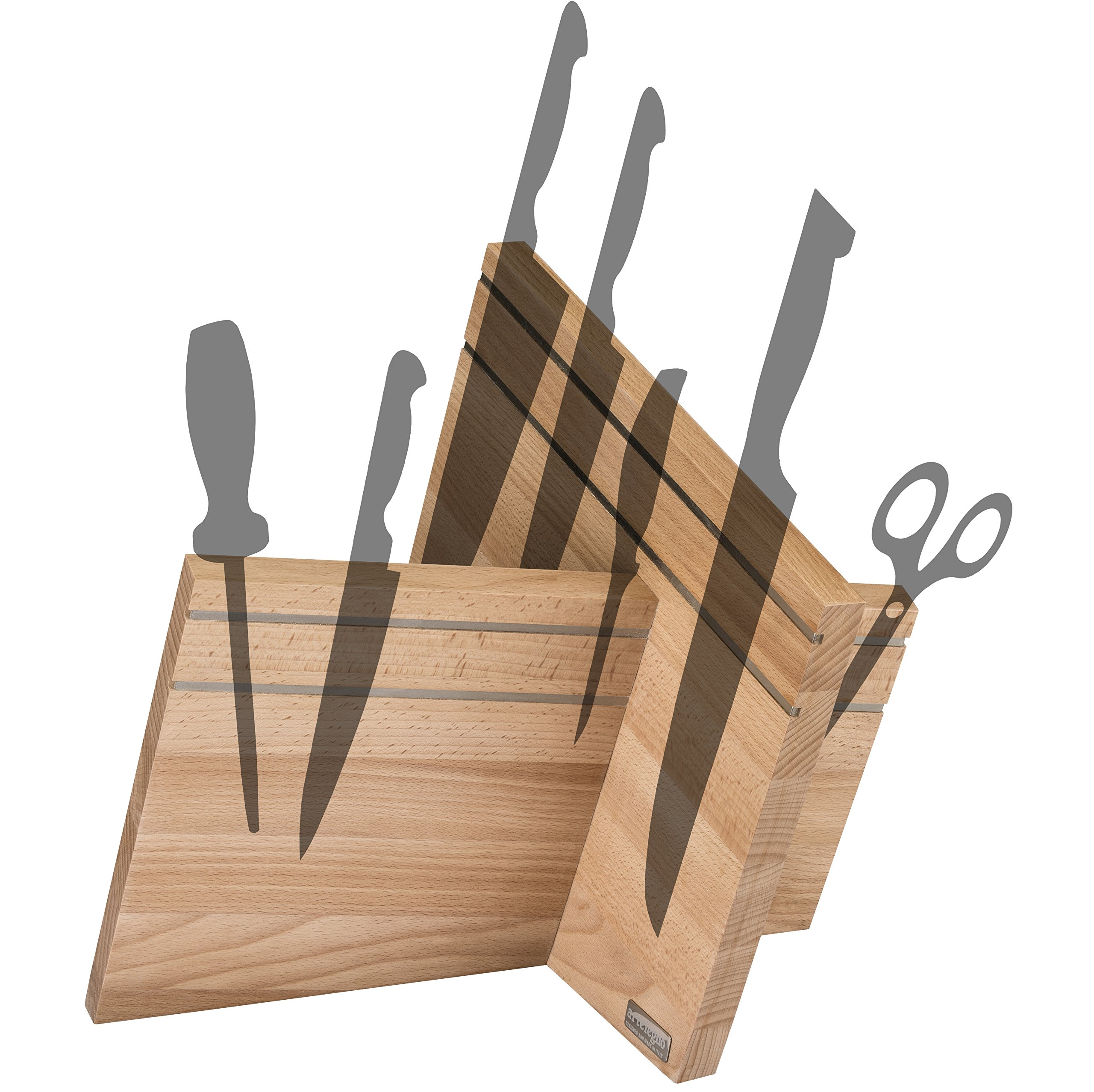 Artelegno  Artisian Knife Block Solid Beech Wood Magnetic, Display and Protect up to 16 High-End Knives Elegantly, Luxurious Italian Milano Collection by Master Craftsmen, Eco-friendly, Natural Finish