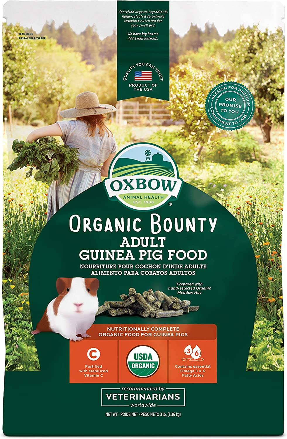 Oxbow Animal Health Organic Bounty Adult Guinea Pig Food, Made In The USA, 3 Pound Bag