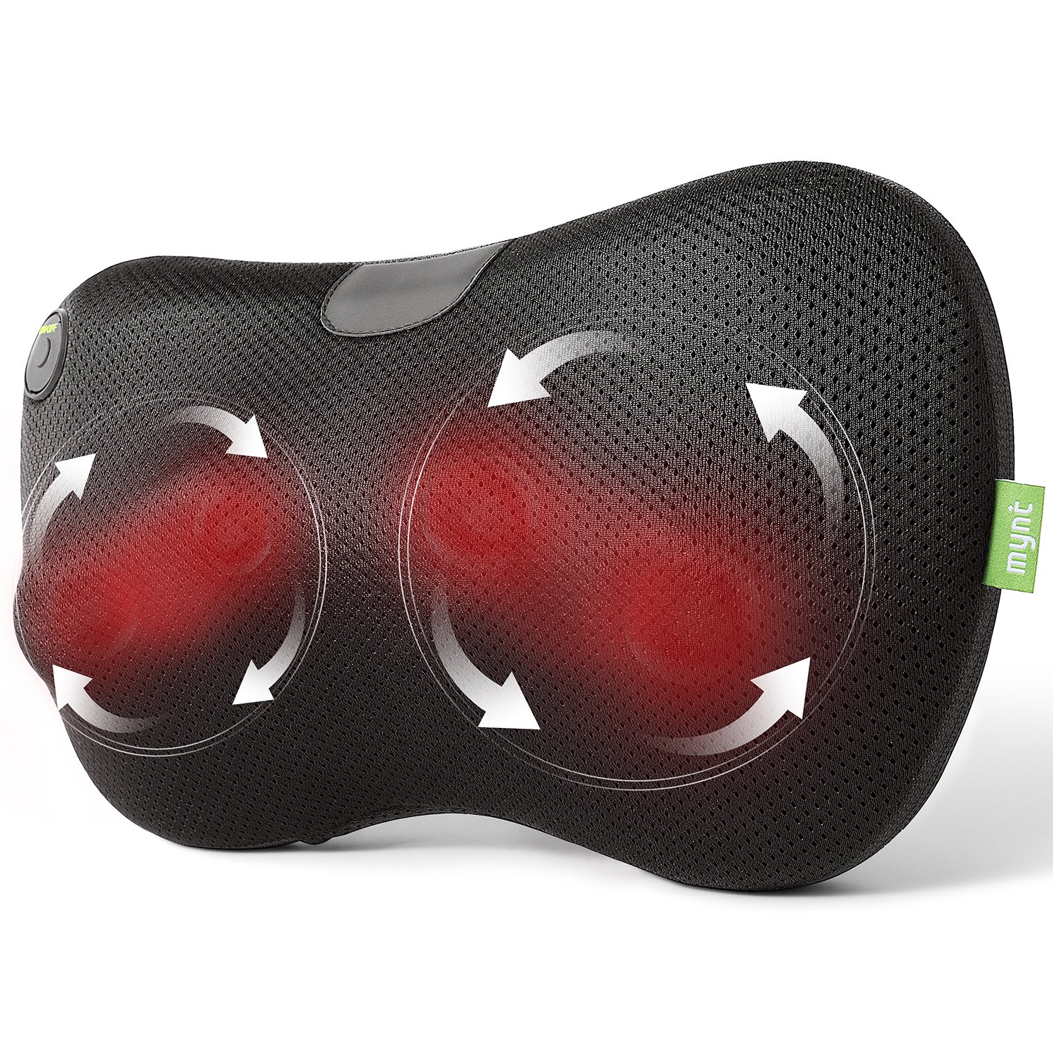 Mynt Shiatsu Massage Pillow with Heat for Neck, Back, Shoulders, Arms and Legs. FDA Approved, Lightweight, Compact Cushioned Portable Massager use at Home, Office, Car, and More