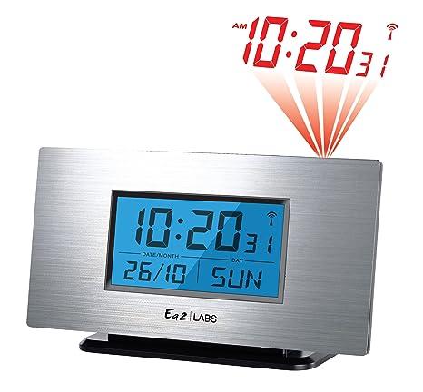 Labs AL805 - Reloj despertador con proyección de la hora y alarma, color aluminio