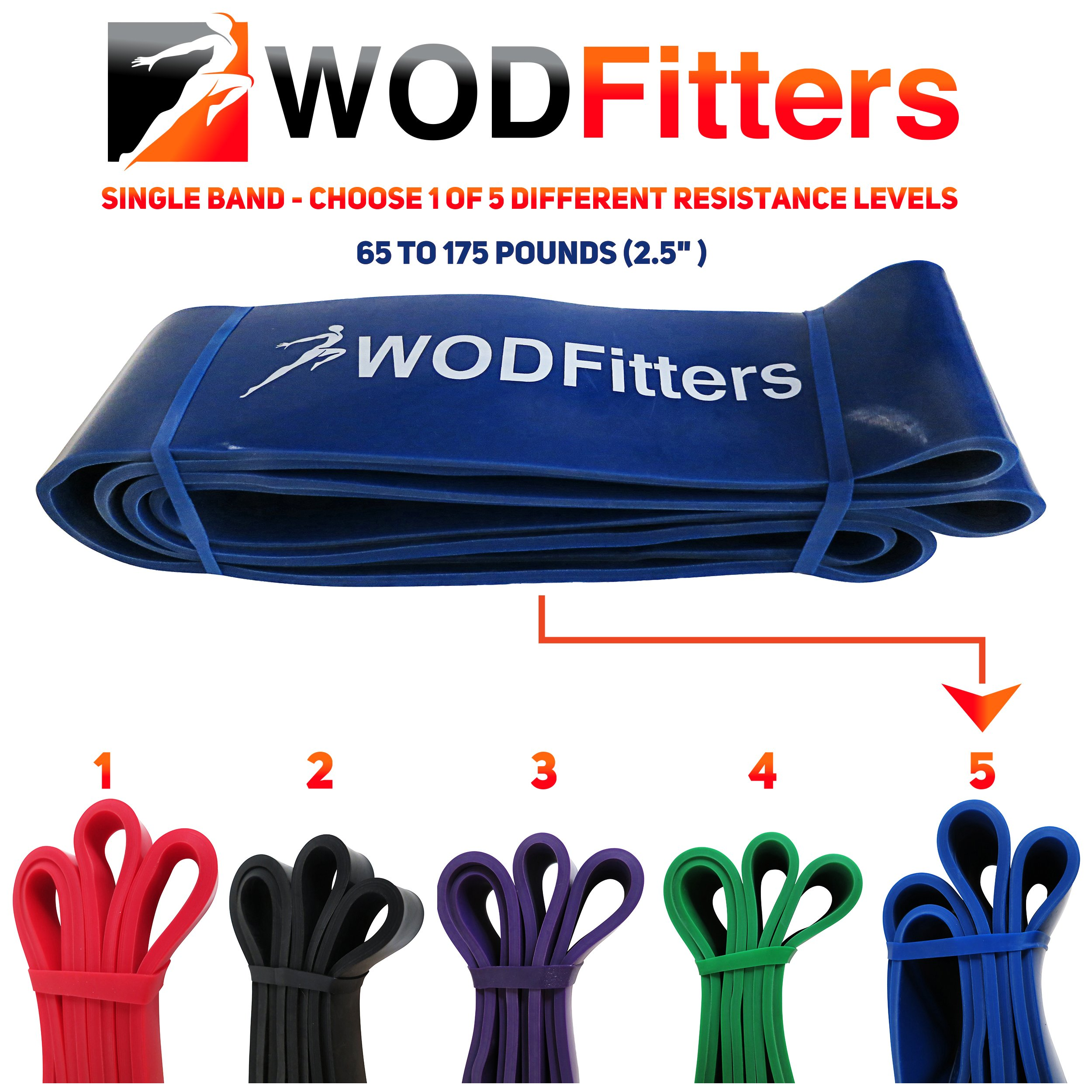 WODFitters Stretch Resistance Pull Up Assist Band with eGuide, 5 Blue - 65 to 175 Pounds (2.5'' 4.5mm) by WODFitters (Image #5)