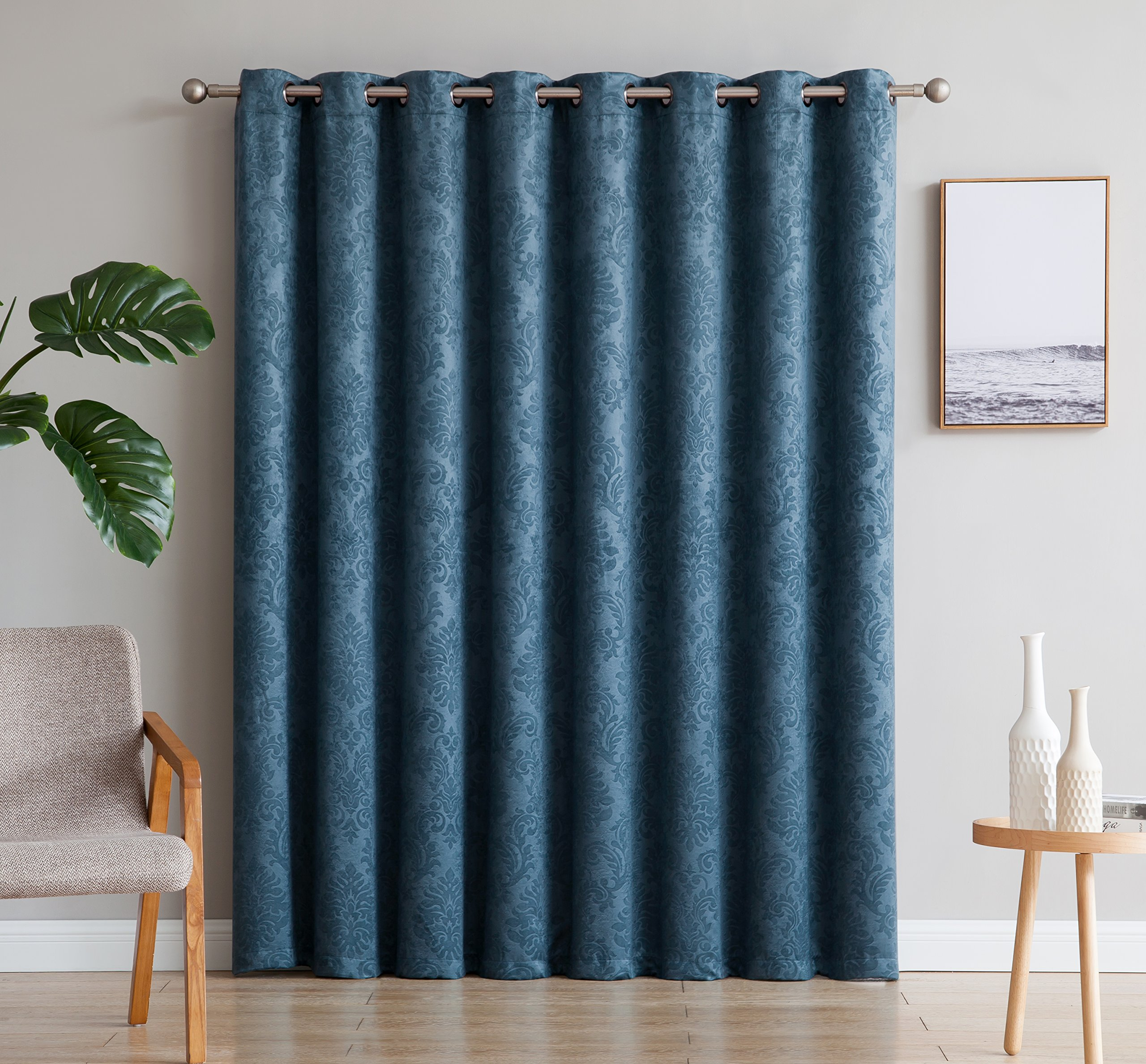 AsaTex Loretta - 1 Embossed Patio Extra Wide Curtain Panel with 16 Grommets - Thermal Weaved Blackout - Noise Reduction Fabric - Ideal for Sliding and Patio Doors (Patio 102'' W x 84'', Teal)