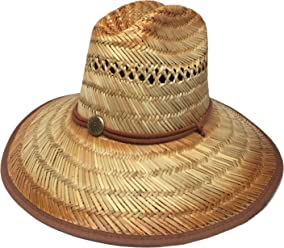 Headchange Wide Brim Lifeguard Hat Rush Straw Beach Sun Summer Surf Safari  Gardener 62a40c6d134f