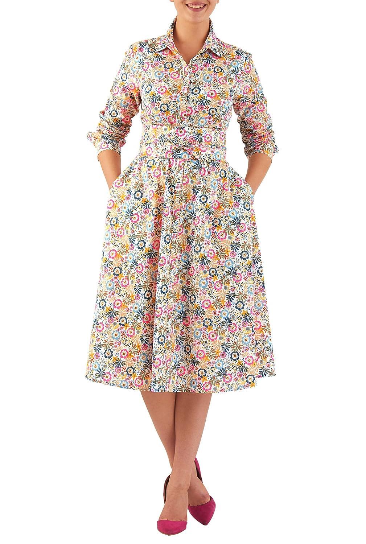Pin Up Dresses | Pin Up Clothing eShakti Womens Obi sash belt floral print cotton shirtdress $61.95 AT vintagedancer.com