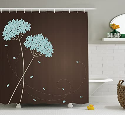 Ambesonne Brown And Blue Shower Curtain Floral Design With Swirl Lines Falling Leaves Autumn Inspired