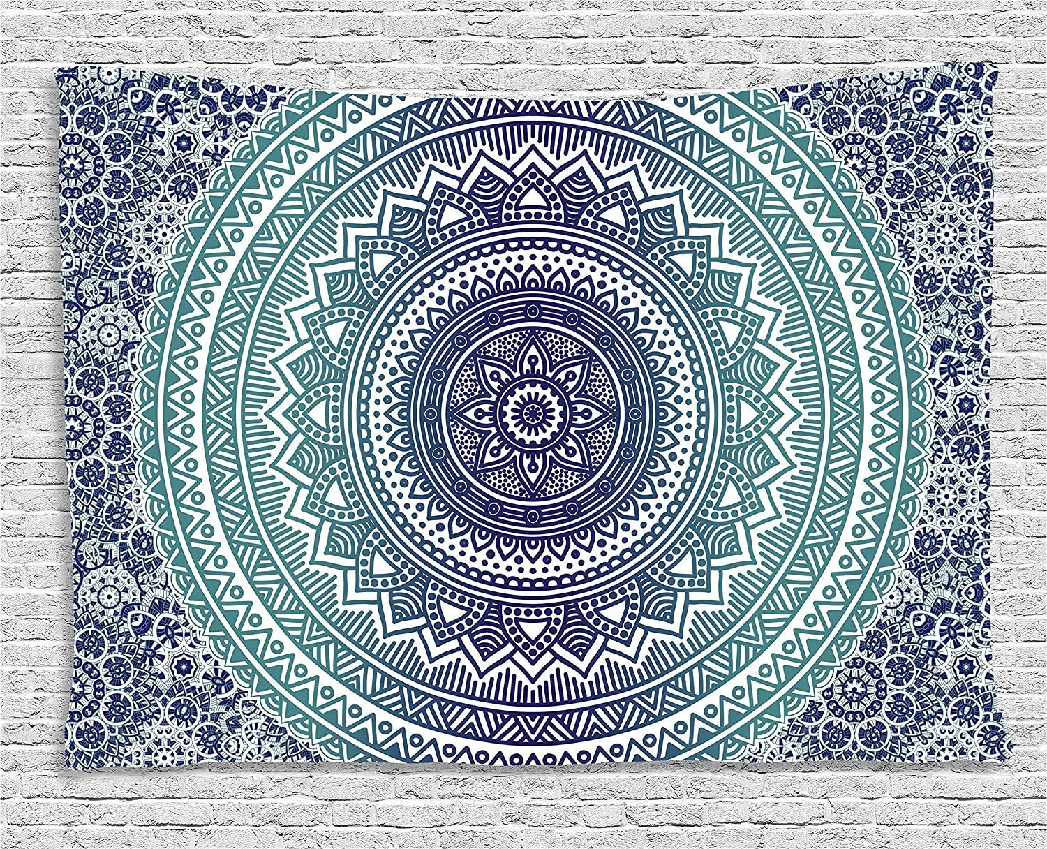 Ambesonne Navy and Teal Tapestry, Ombre Mandala Old Art with Mehndi Style Effects Bohemian Pattern, Wide Wall Hanging for Bedroom Living Room Dorm, 60