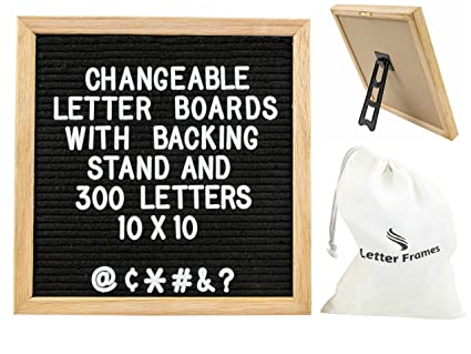 changeable black felt letter board with stand 10x10 inch premium oak frame with 300 letters and