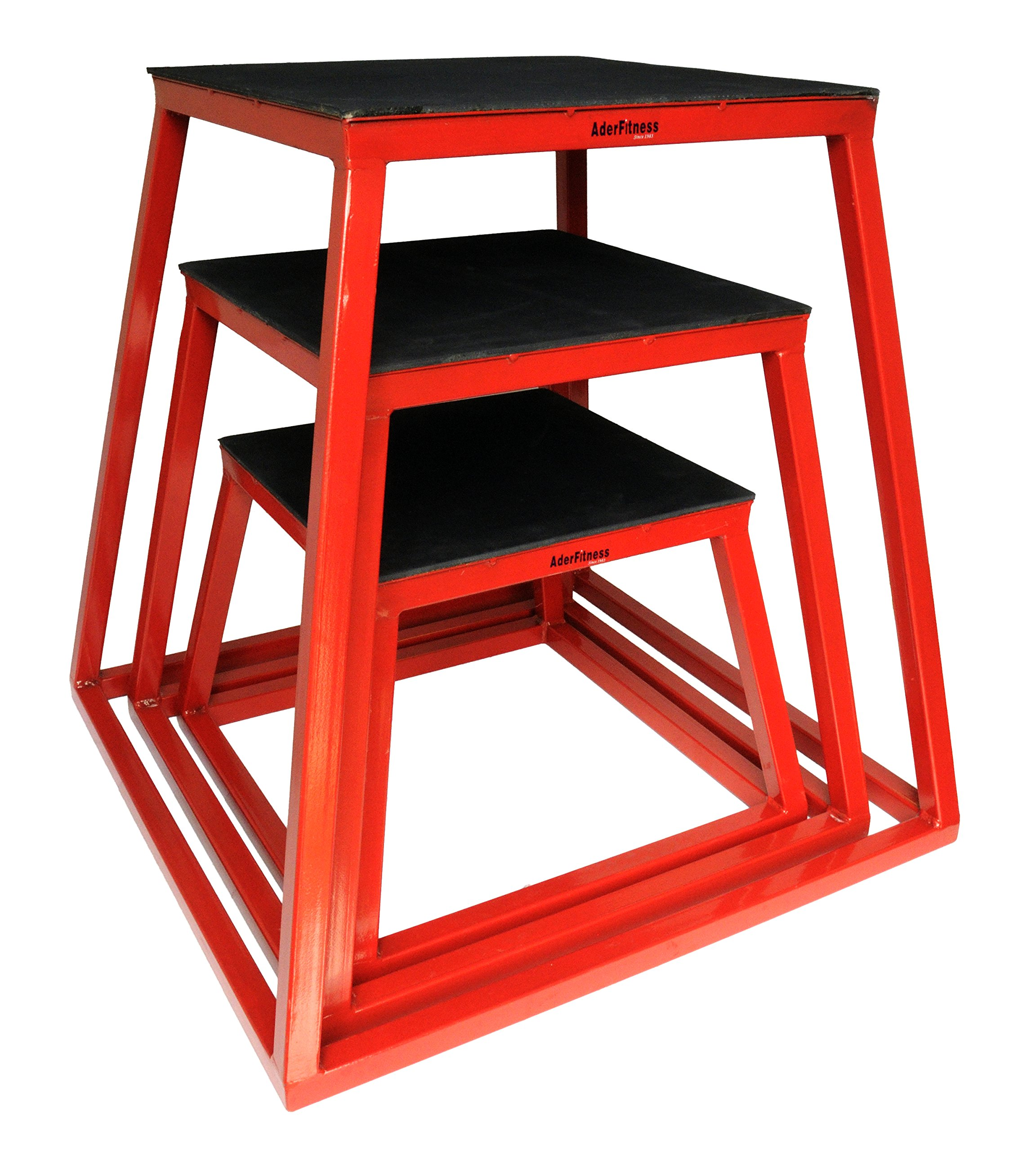 Ader Sporting Goods Plyometric Platform Box Set- 12'',18'', 24'' Red