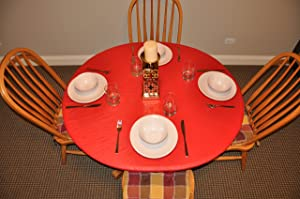 "Covers For The Home Deluxe Elastic Edged Flannel Backed Vinyl Fitted Table Cover - Red Pattern - Small Round - Fits Tables up to 44"" Diameter"