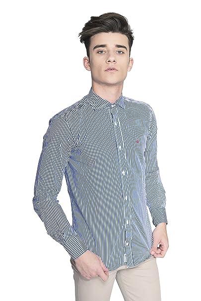 0dc596f0b8 Hywells Popelín Cotton Santa Mónica - Camisa Sportwear de Hombre 100%  Algodón con Manga Larga