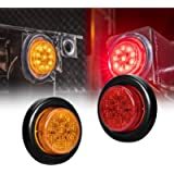 2pc 2' Amber + Red Round Trailer LED Clearance Marker Lights [DOT Approved] [Reflector Lens] [Grommet] [Flush-Mount…