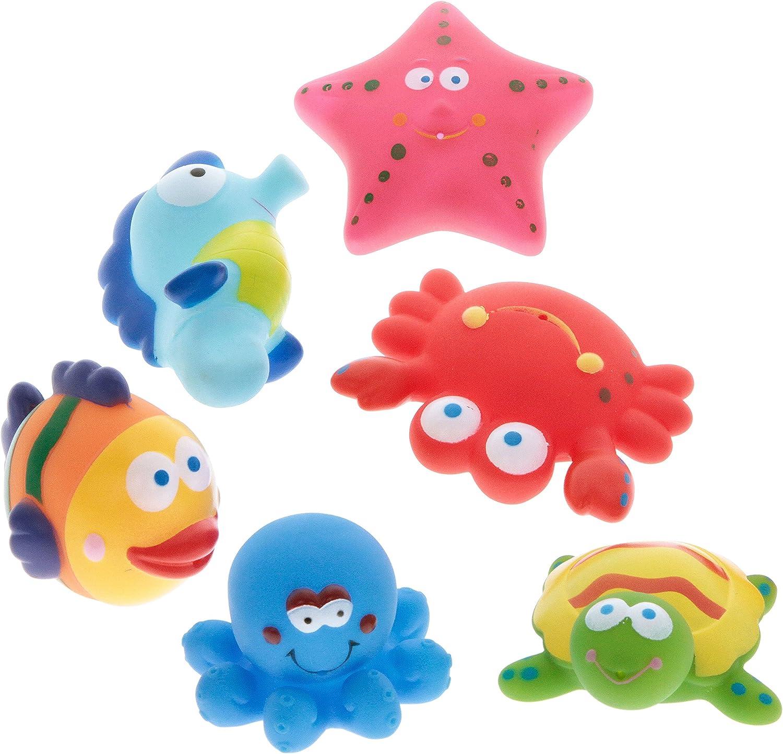 6pieza Animales de goma con función pulverizador en Red Caballito de mar pulpo etc.