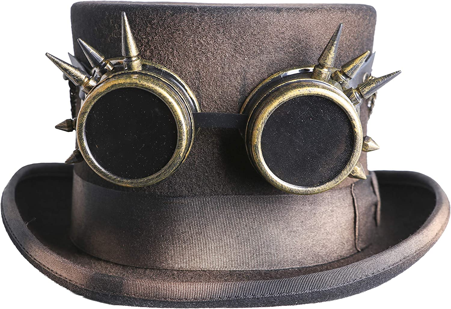 Steampunk Top Hat and Goggles Victorian, Handmade Black Leather Original Handcrafted