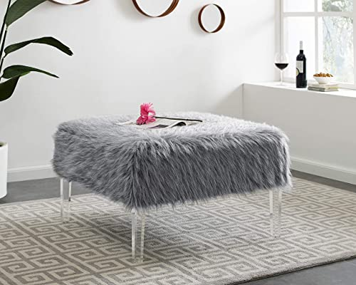 LifeDecor Ottoman Faux Fur Polyester Fabric Decorative Ottoman for Living Room Guest Room Office