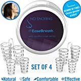 Snore Stopper – Anti Snoring Device By EaseBreath – New 2018 Model – Stop Snore Nose Vents Sleep Aid Kit Set Of 4 Nasal Dilators And Travel Case For Fast And Safe Snore Relief – Safe Snoring