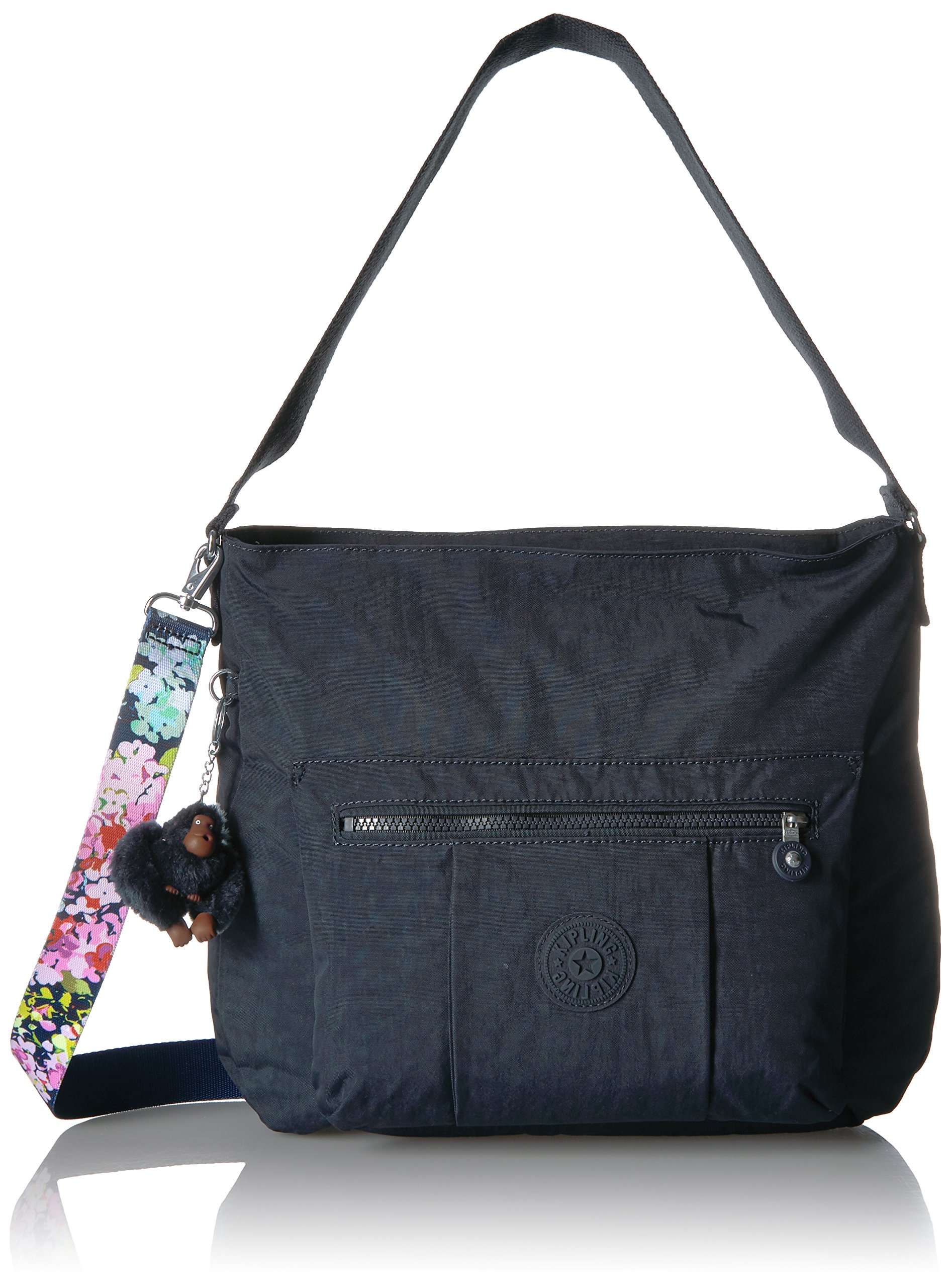 Kipling Carley Solid Hobo Crossbody Bag with a Floral Printed Strap, True Blue