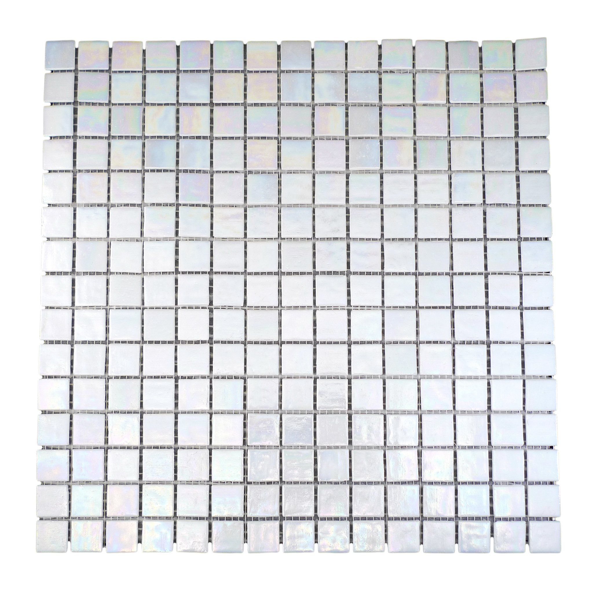 URBN Contemporary Pearl White Iridescent Glass Mosaic Tile for Kitchen and Bath - One Box of 20 Sheets (23 SQ FT)
