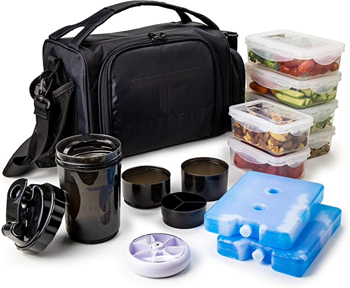 Insulated Meal Prep Lunch Box with 6 Food Portion Control Containers - BPA-Free, Reusable, Microwavable, Freezer Safe - With Shaker Cup, Pill Organizer, Shoulder Strap & Storage Pocket (Black)