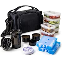 Insulated Meal Prep Lunch Box with 6 Food Portion Control Containers - BPA-Free, Reusable, Microwavable, Freezer Safe…
