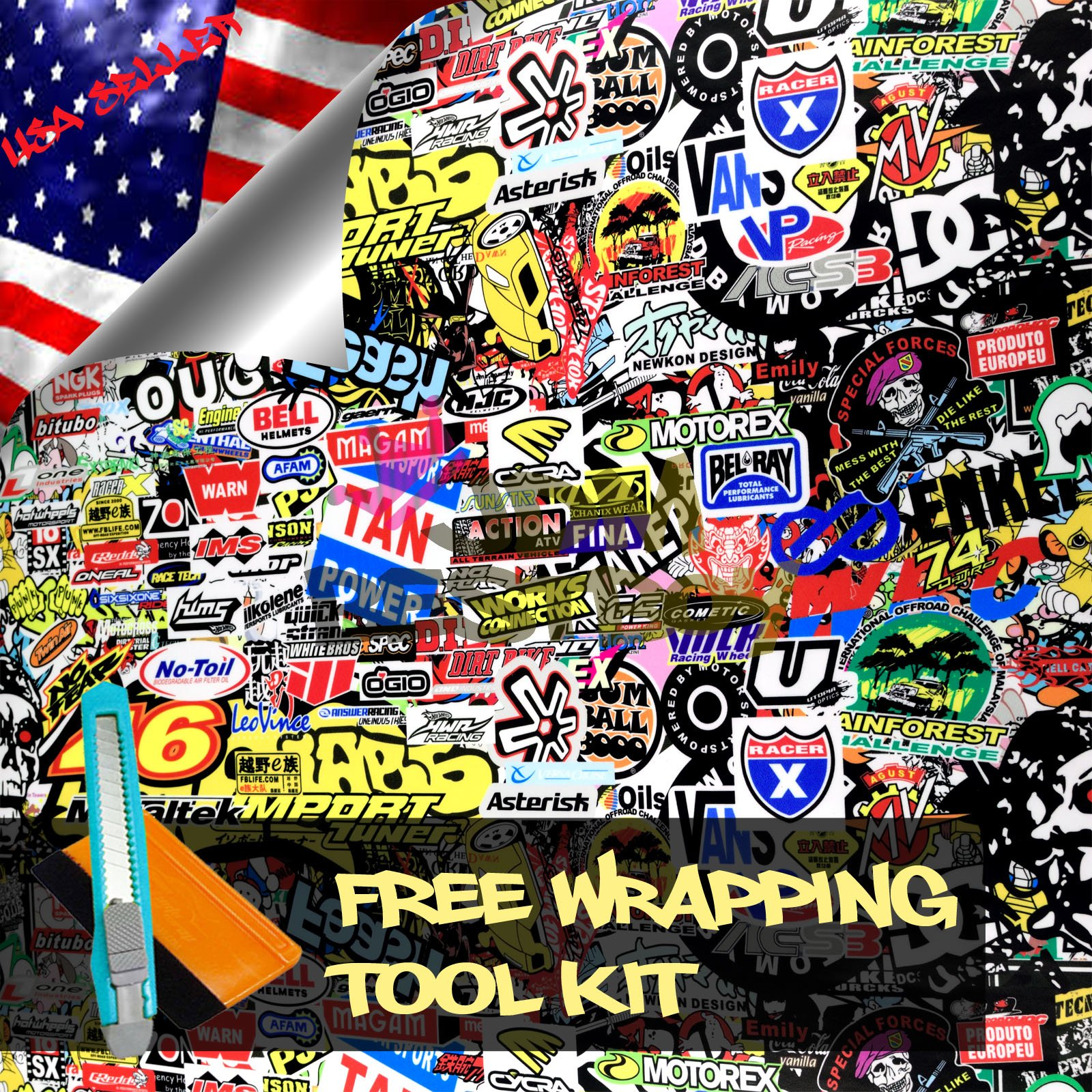 Free Tool Kit LION JDM Bomber Racing Graffiti Brand Car Auto Laptop Vinyl Wrap Sticker Decal Film Sheet - 60''X600''