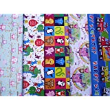 10 SHEETS OF CHILDREN'S WRAPPING PAPER - PRINCESS, TOW TRUCK, CAR, LION, ELEPHANT, GIRAFFE, CUTE OWLS. (2 sheets each of 5 designs)