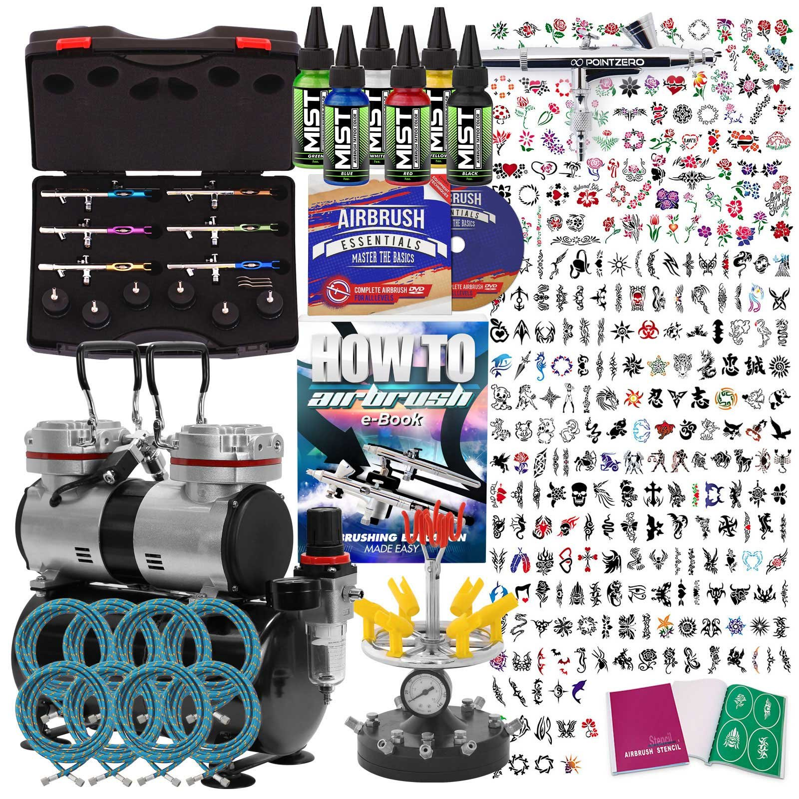 PointZero Complete Temporary Tattoo Airbrush Set - 6 Airbrushes with Compressor and 300 Stencils