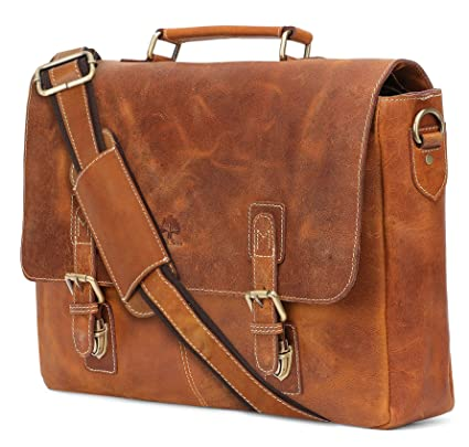 c35a987587 16 inch Genuine Leather Briefcase Bag - Crossbody Laptop Satchel by Rustic  Town  Amazon.co.uk  Luggage