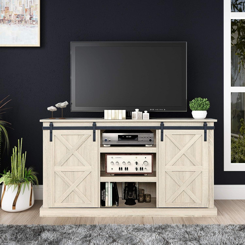 Sliding Barn Door TV Stand, Living Room Entertainment Center, Storage Cabinet with Shelves (White Oak)