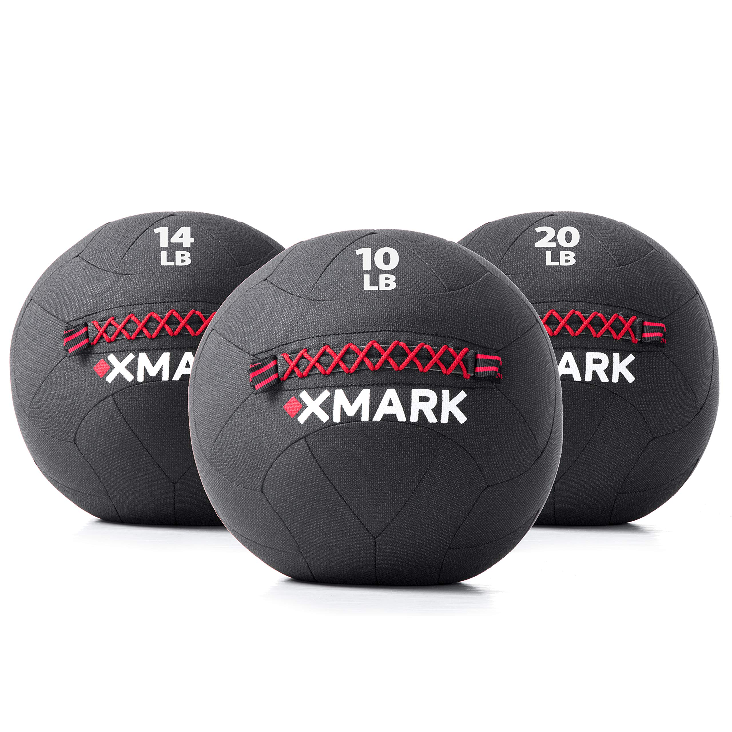 XMark Kevlar Wall Ball/Medicine Ball, Ideal for Strength Training and Conditioning, Triple Stitched for Reinforcement, 10 lb, 14 lb, and 20 lb. Set of Exercise Balls