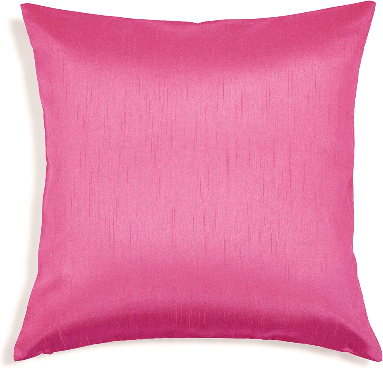 Aiking Home Solid Faux Silk Euro Sham/Pillow Cover, Zipper Closure, 26 by 26 Inches, Hot Pink