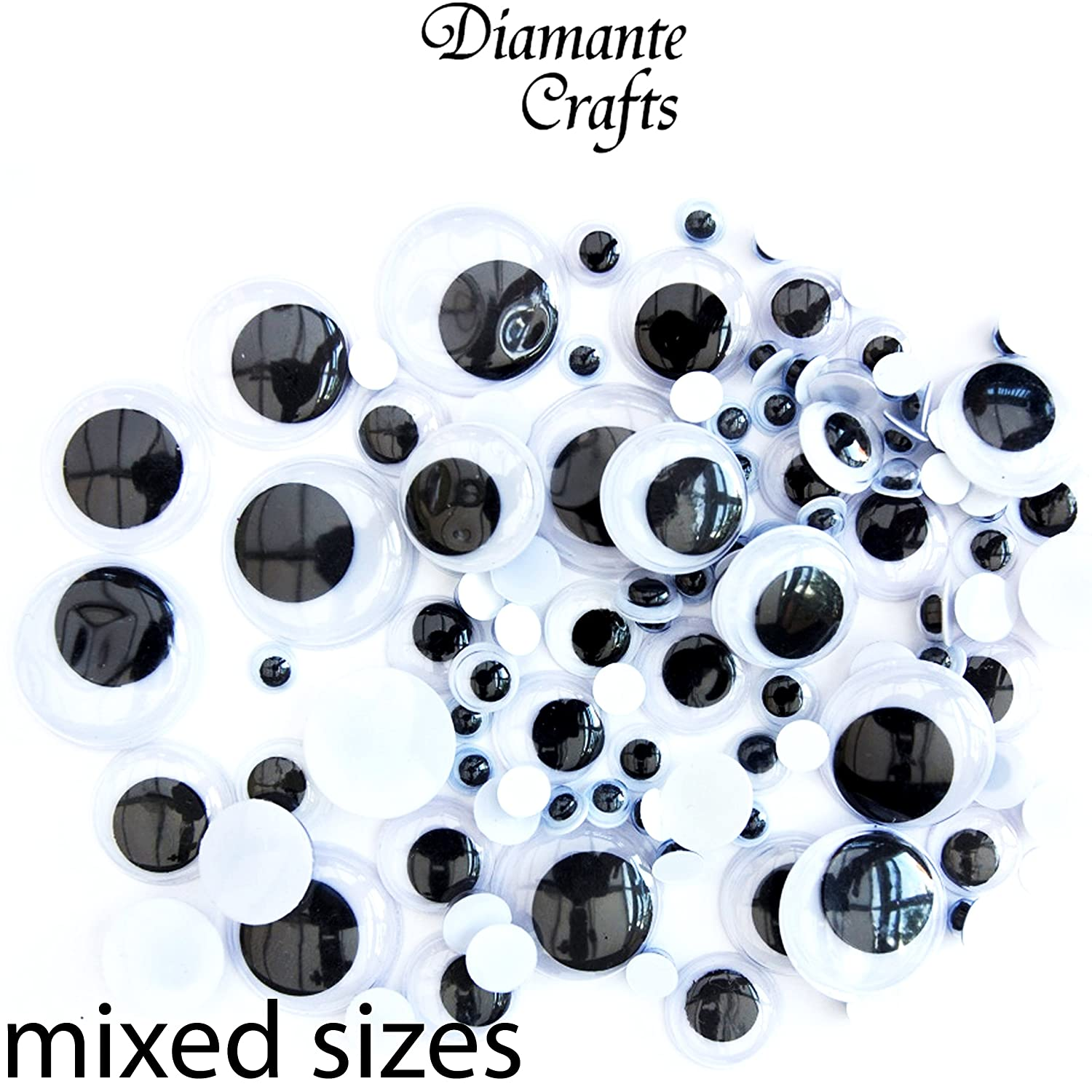114 pcs Mixed Size Pack Googly Eyes Wiggle Woobly Craft Embellishment Google Mixed Sizes 5mm 7mm 10mm 12mm 15mm 18mm 20mm Diamante Crafts