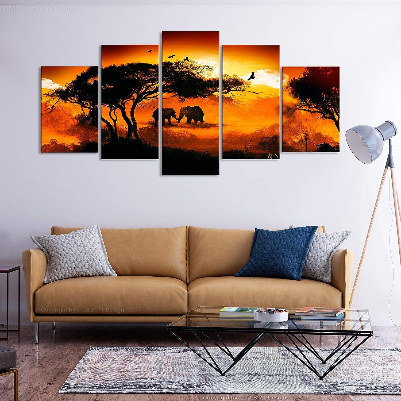 Leinwandbilder Bild auf Leinwand Vlies Wandbild Kunstdruck Wanddeko Wand Wohnzimmer Wanddekoration Deko Elefant Landschaft Sonnenuntergang decomonkey Bilder Afrika Tiere 100x50 cm 5 TLG