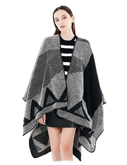 64a0604ccc8 Femme Fille Motif Géométrique Extra Large Très Épais Écharpe Wrap Châles  Etole Ponchos  Amazon.fr  Vêtements et accessoires
