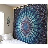 Raajsee - Arazzo da muro in stile Mandala, bohemien e hippy, colore blu e design di pavone, dimensione: queen size, decorazione da parete, utilizzabile anche come coperta da letto, dimensioni: 220 x 240
