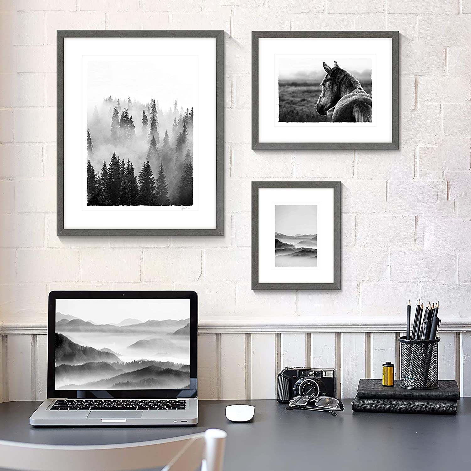 Nature View Pictures Prints Framed - Mysterious Foggy Scenery Photography Black and White Wall Art with Wooden Frame for Bathroom, Living Room, Bedroom, Office 3 Panels