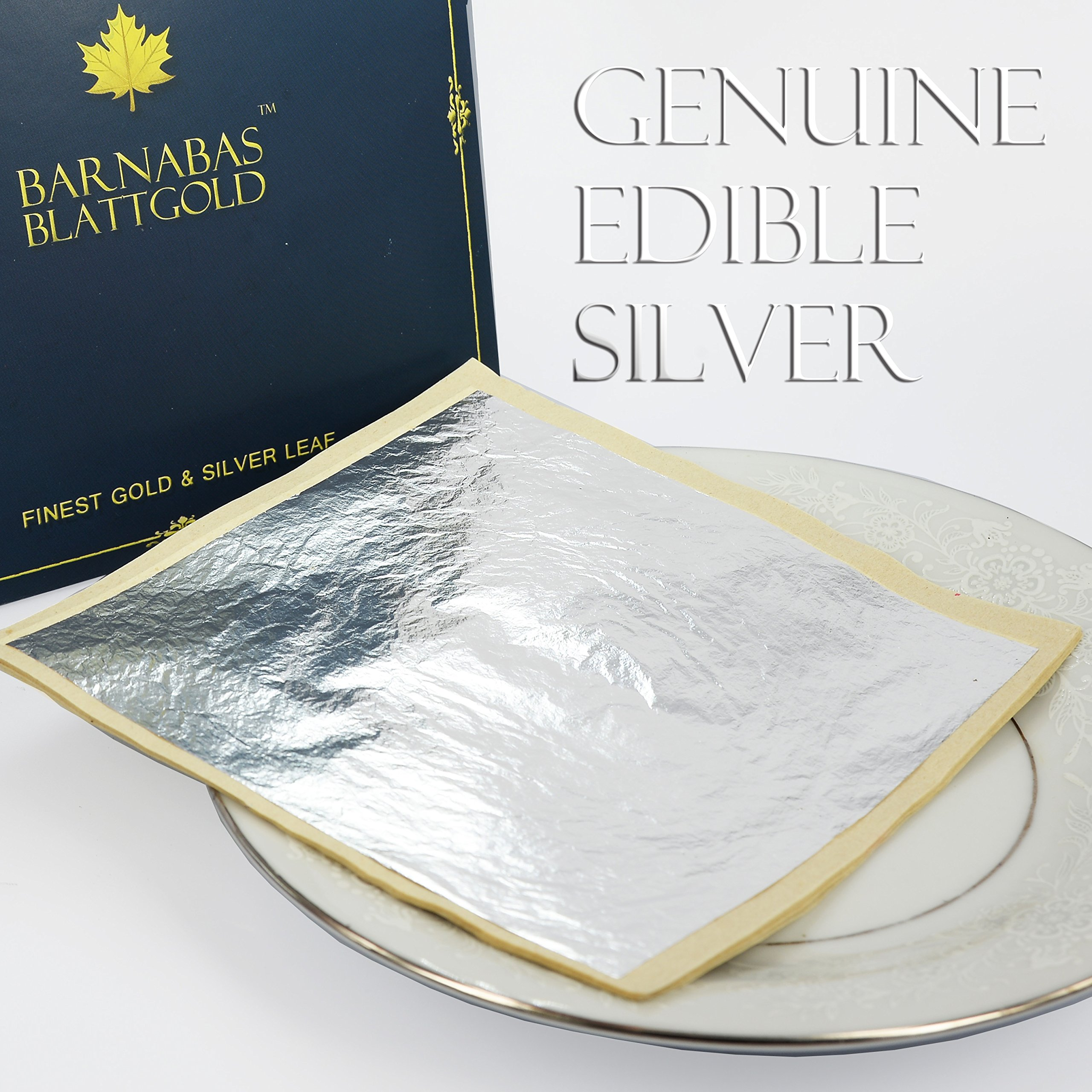 Edible Genuine Silver Leaf Sheets - by Barnabas Blattgold - Large 4.4 inches - 25 Sheets - Loose Leaf by BARNABAS BLATTGOLD