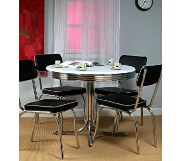 Target Marketing Systems 5 Piece Retro Dining Set With 4 Chairs And 1 Round