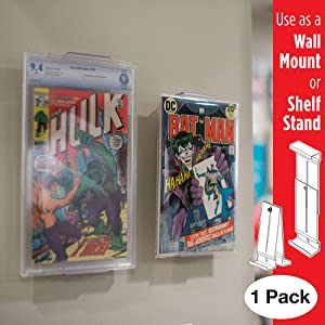 Comic Mount Comic Book Frame, Wall Mount and Shelf Stand, Invisible and Adjustable, 1 Pack