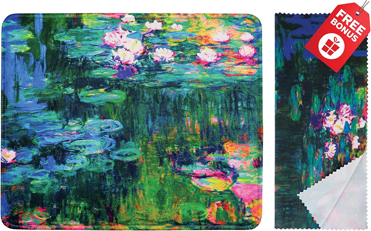 Claude Monet Water Lilies VI Mouse Pad with Colorful Classic Artwork Design. Non Slip Base. Matching Microfiber Cleaning Cloth for Eye Glasses & Electronics. Cool Mouse Pad for Laptop & Travel