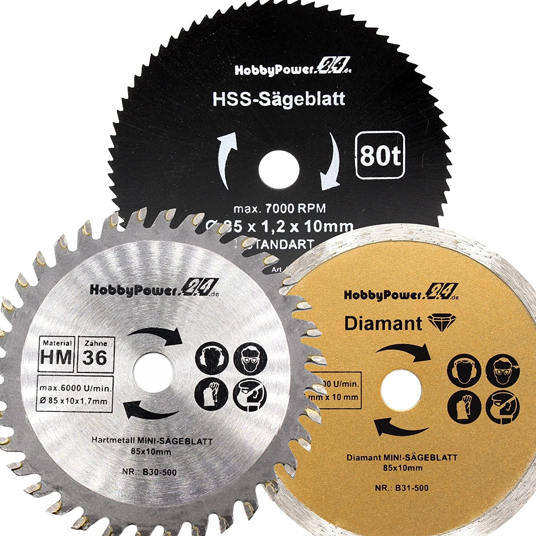 Lot de 3/mini scie circulaire /à main Lot de 3/HM Scie bois /Ø 85/x 10/mm 36/dents pour Apex//Timbertech//Power Plus//Germania
