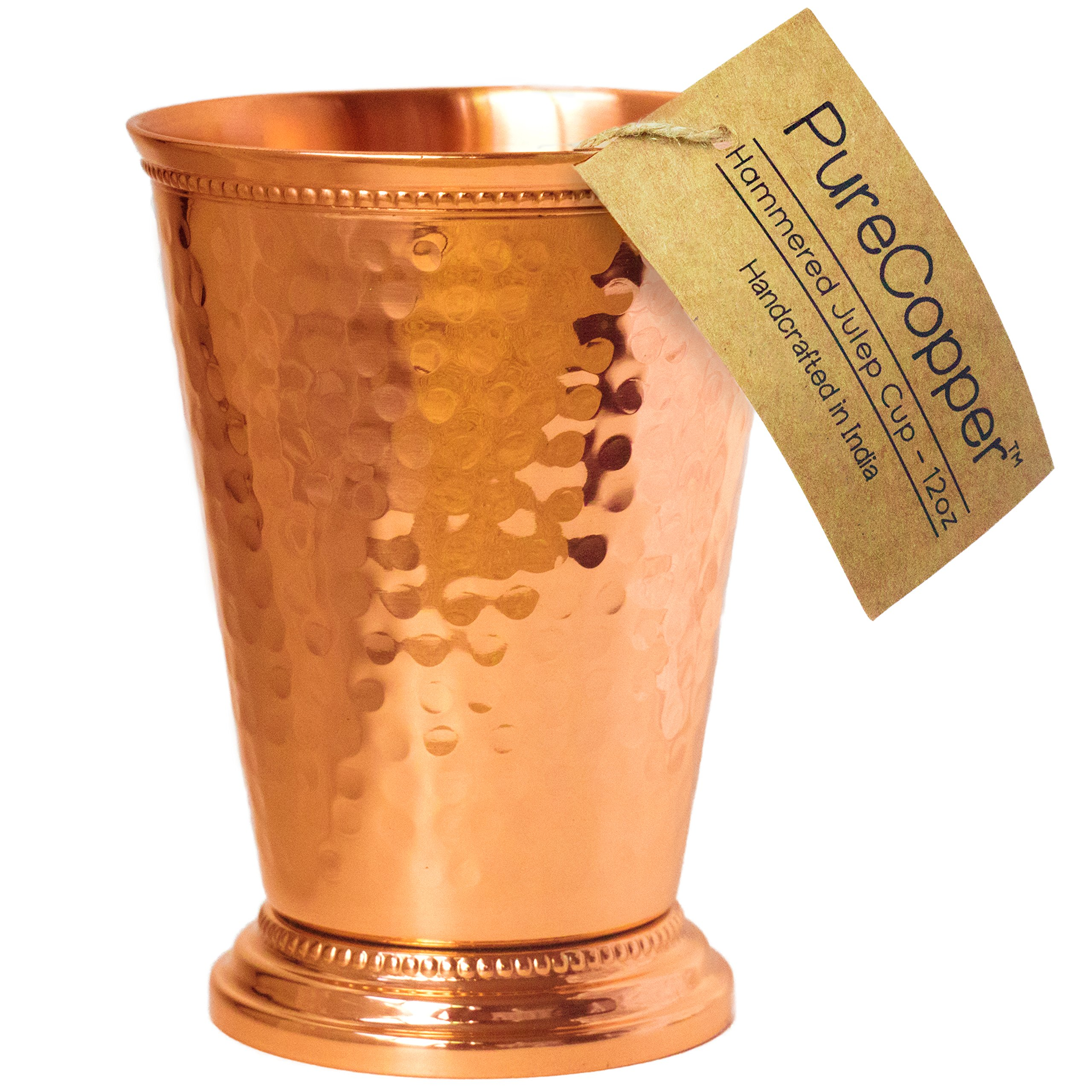 Mint Julep Cup - 100% Copper, Hammered by Hand - 4.5'' Height 12 Ounce (Hammered Copper, 12oz) by PureCopper