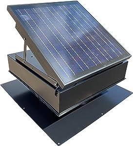 Remington Solar 25-Watt Solar Attic Fan with Thermostat/Humidistat (22 x 22 x 11 in) (Black) - Brushless Motor – Hail and Weather Resistant Solar Vent Fan – Solar Powered Attic Fan for Homes