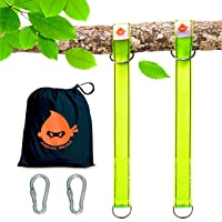 American Warrior Jubilee Ninja Heavy Duty Tree Swing Straps - Hammock Hanging Kit and Bomb Hold Strap, Fast Installation with Steel Screw-Lock Carabiners & Safety Green Color for Spotting kids outdoor