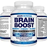 Premium Brain Function Supplement - Memory, Focus, Clarity - Nootropic Booster with DMAE, Bacopa Monnieri, L-Glutamine, Vitamins, Minerals - Arazo Nutrition