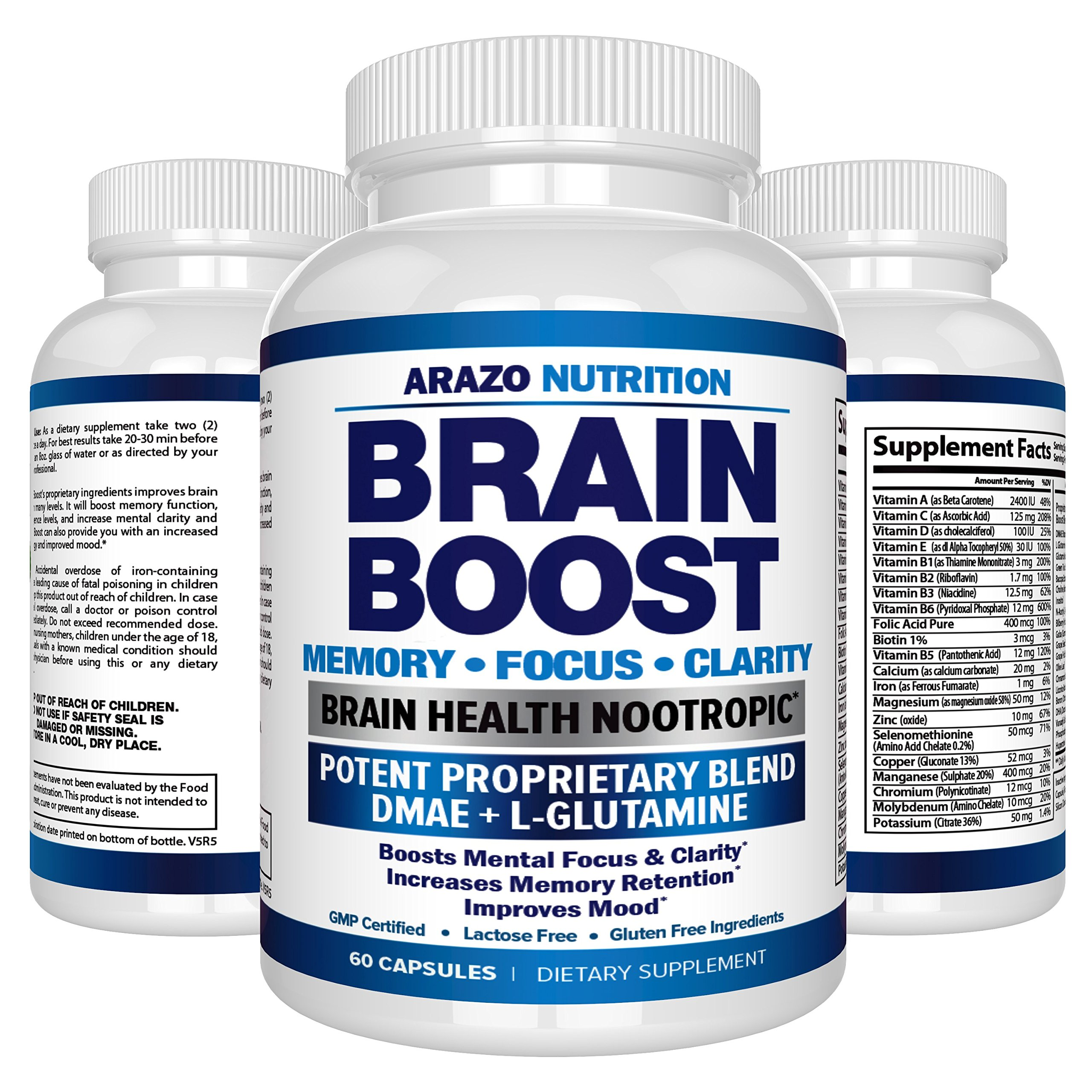 Premium Brain Function Supplement – Memory, Focus, Clarity – Nootropic Booster with DMAE, Bacopa Monnieri, L-Glutamine, Vitamins, Minerals - Arazo Nutrition