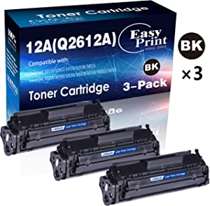 (3-Pack, Black) Compatible 12A Q2612A Toner Cartridge 2612A Used for HP Laserjet Laserjet Pro 1010 1012 1018 1020 1022 1022n 3015 3030 3050 3052 3055 M1319F Printer, by EasyPrint